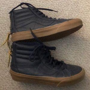 Women's High Top Old Skool Vans-Navy-Leather